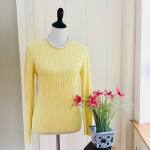 IZOD Yellow 100% Cotton Cable Knit Sweater